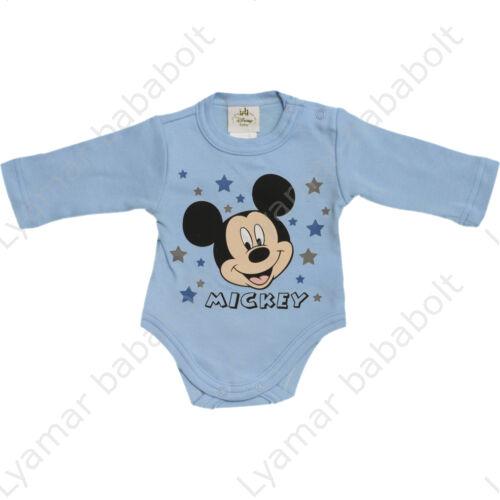 Disney, Mickey mesefigurás,csillagos, hosszú ujjú, halványkék body (Méret: 50-86)
