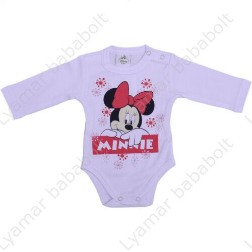 Disney, Minnie mesefigurás,hópelyhes hosszú ujjú, hófehér body (Méret: 56)