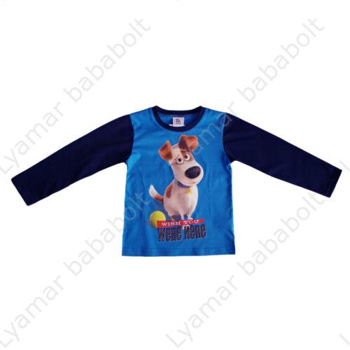 A kis kedvencek titkos élete hosszú ujjú vékony felső kék színben Max kutyussal (Méret: 98-140)