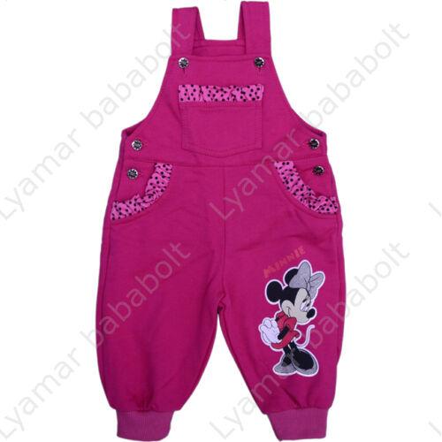 Minnie Mouse bélelt, bolyhos, fodrokkal díszített, zsebes, kantáros kertésznadrág  (méret: 68)