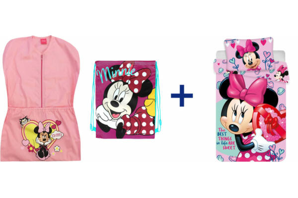 96e4281305 Oviszsák tornazsák csomag, ovis méretű ágyneműhuzattal, Disney Minnie